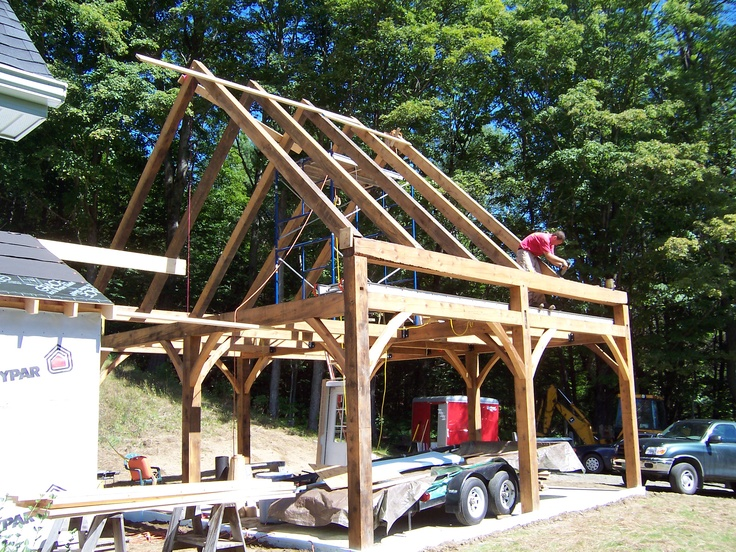 24x24 post and beam garage frame shed plans pinterest for Post and beam kits maine
