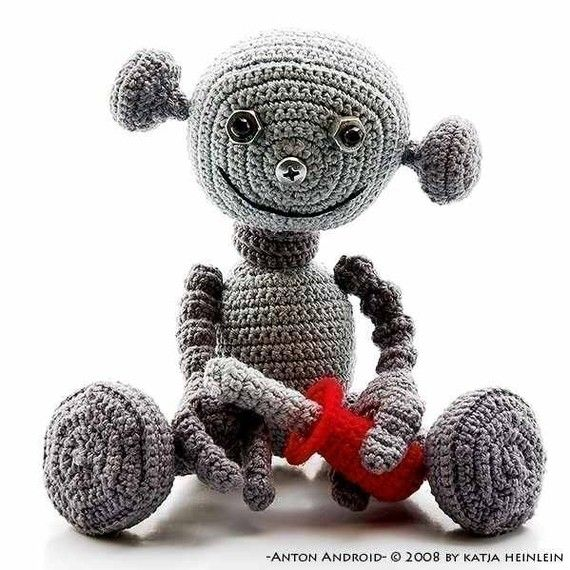 crocheted robot for baby nephew, minus the small parts