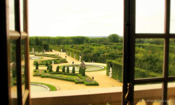 View of Versailles gardens from window.