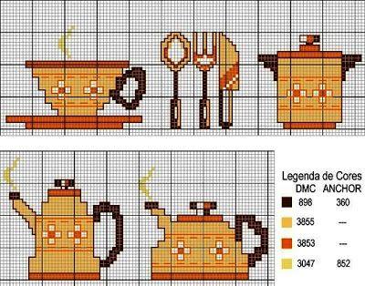 Gráficos de Ponto Cruz: Cozinha gráficos de ponto cruz Bules e Xícaras
