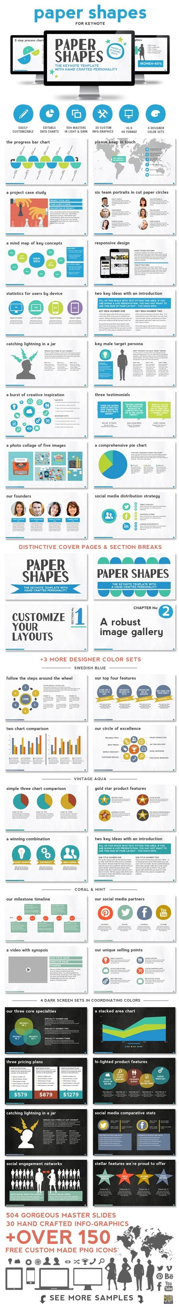 Paper Shapes Keynote Presentation Template - Creative Keynote Templates