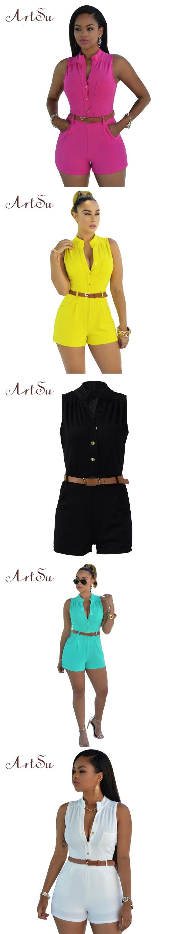 9c686caefaf ArtSu 11 colors 2017 summer romper bodycon rompers womens jumpsuit  sleeveless shorts S-XXL Sexy