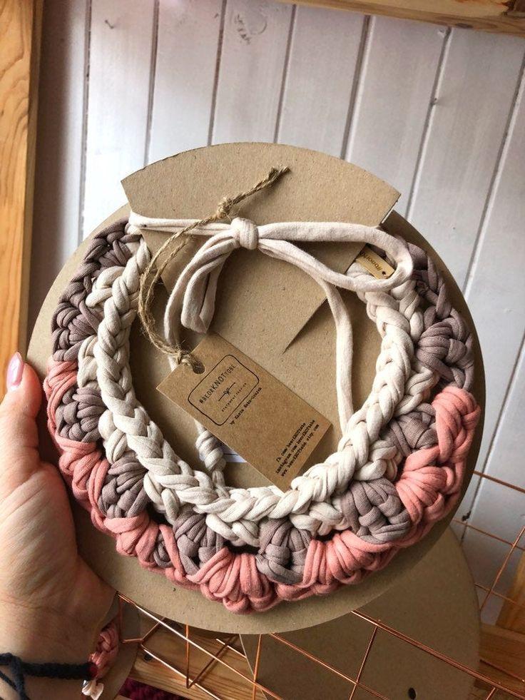 Fabric Bib Necklace Cream and Cappuccino CoralStatement