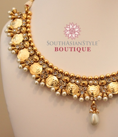 South Indian Pearl and Antique Gold Coin Necklace Set - JW021
