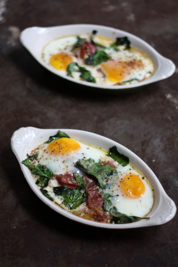 Baked Eggs with Spinach Chives and Prosciutto | Food & Recipes ...