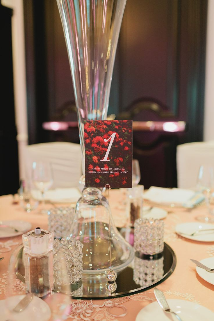 Each table number signified a special moment in the couples lives. Love this idea!  http://www.fusion-events.ca/