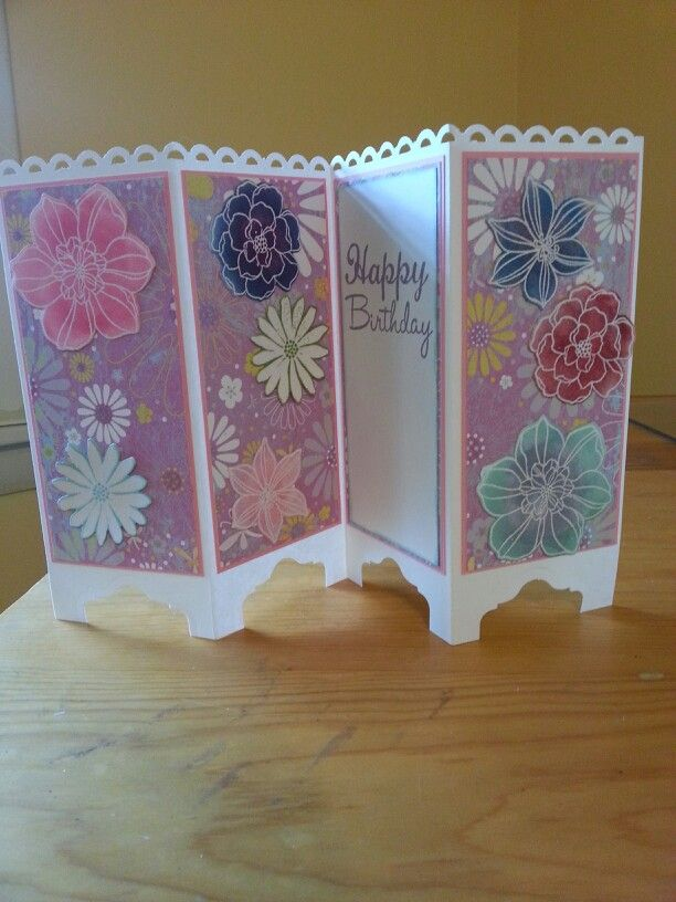 Folding screen card with secret garden from stampin' up!
