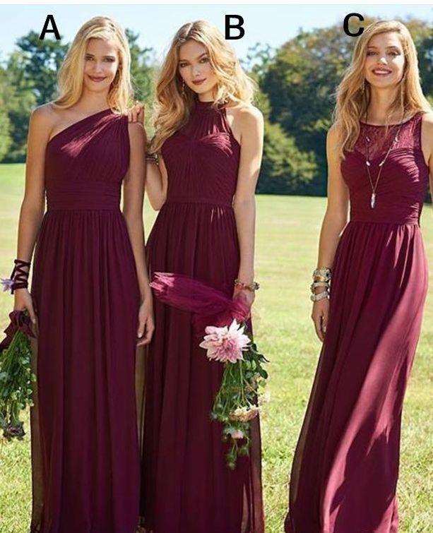Hot Wine Bridesmaid Dresses Chiffon A Line Floor Length Beach Wedding Guest Dresses Burgundy Long Maid of Honor Gowns Cheap
