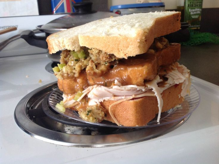 """Ross's leftover thanksgiving sandwich with the """"moist maker"""".  I can never get enough Thanksgiving food!!"""