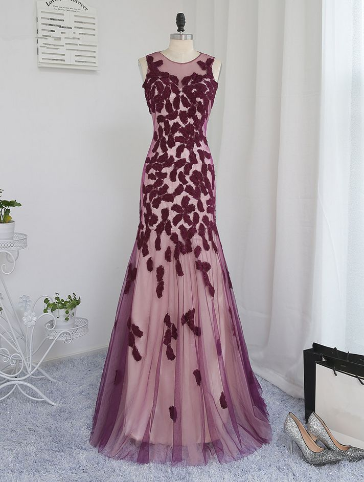 Wine Red Evening Dresses Mermaid Tulle Appliques Lace See Through Long Evening Gown Prom Dress Prom Gown