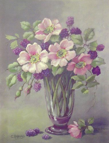 """""""Wild Roses with Berries"""" by Christie Repasy ~ watercolor"""