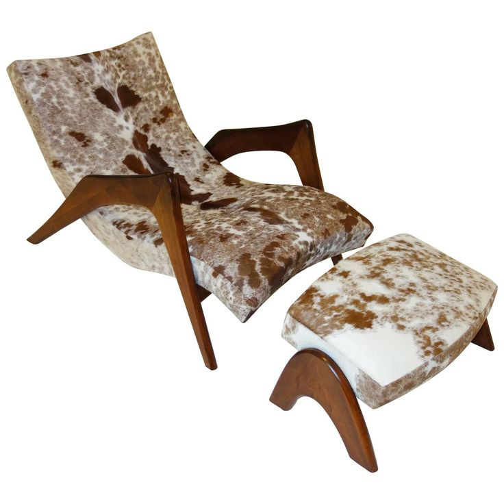 U0027Crescentu0027 Lounge Chair And Ottoman By Adrian Pearsall For Craft Associates  In Cowhide Ca