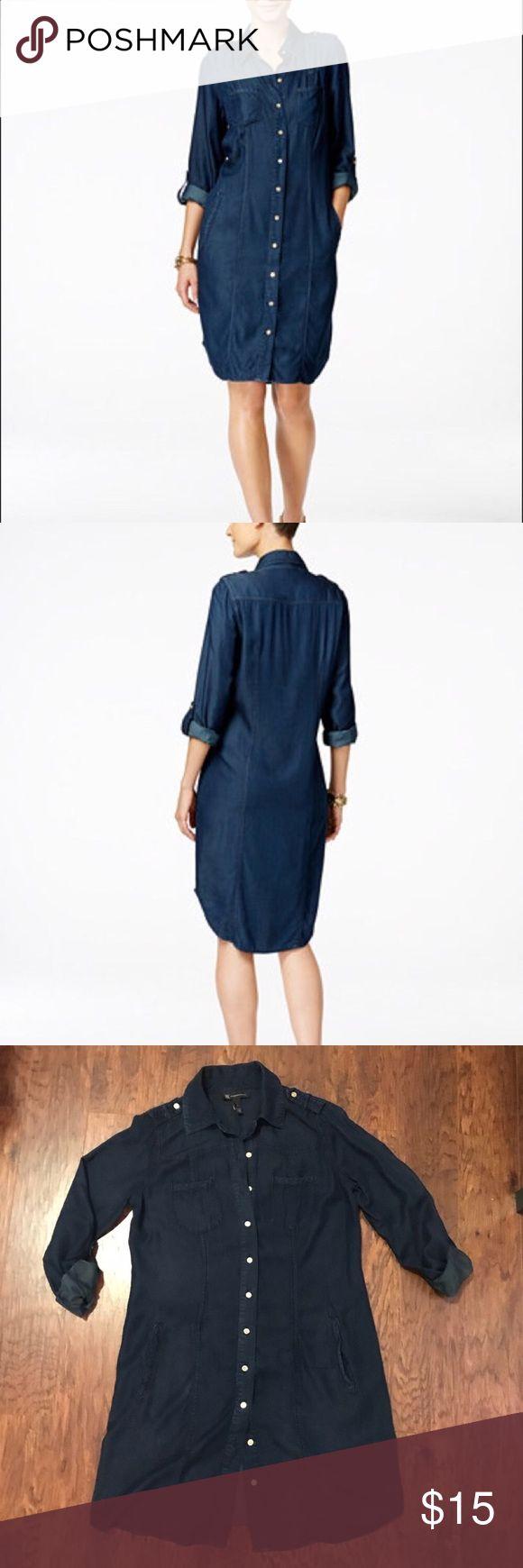 INC Shirt Dress Lightweight denim-like viscose/lyocell shirt dress. Shirt tail hem hits at knee. Chest and side pockets. Shoulder epaulets. Roll-tab sleeves. Worn once. Good condition. INC International Concepts Dresses