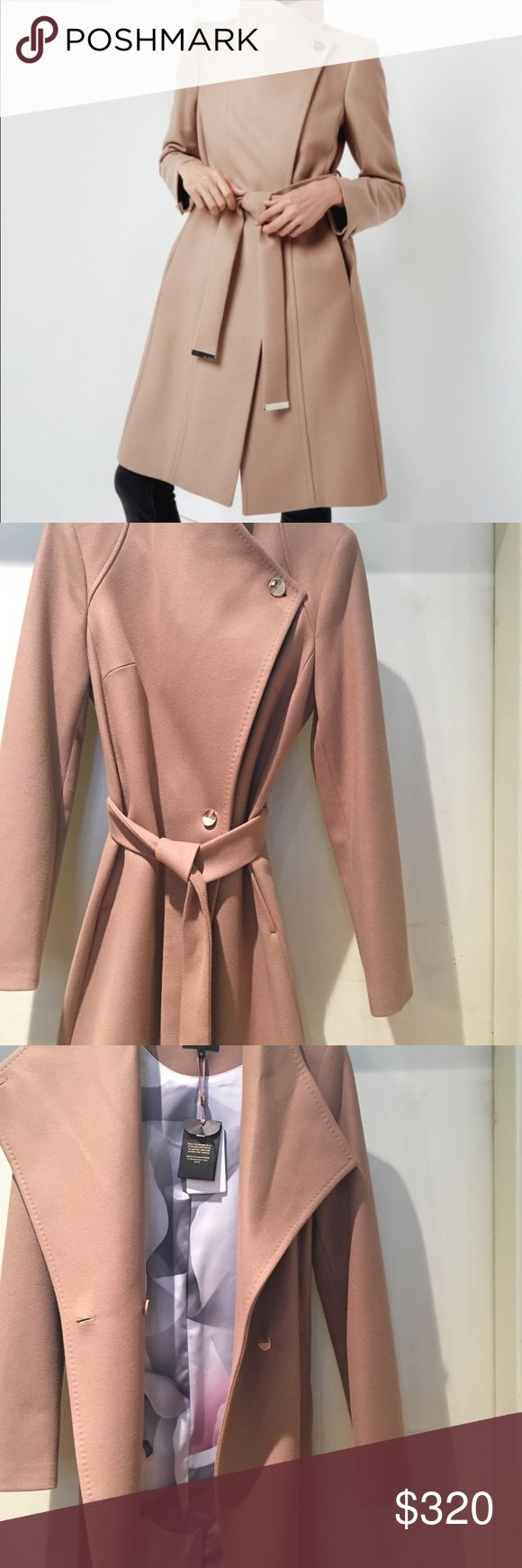 Ted Baker wrap coat Camel coat with silk floral lining, NEW, Ted Baker size 2 US size 6 Ted Baker Jackets & Coats Pea Coats