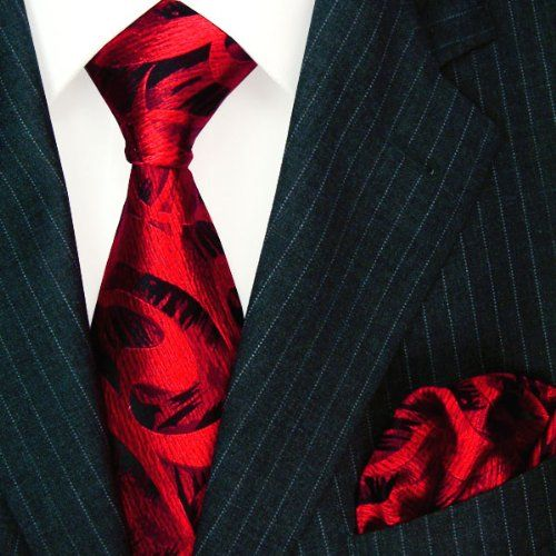 LORENZO CANA Luxury Italian Pure Silk Tie Hanky Set Red Wine Black Paisley Necktie 8448501