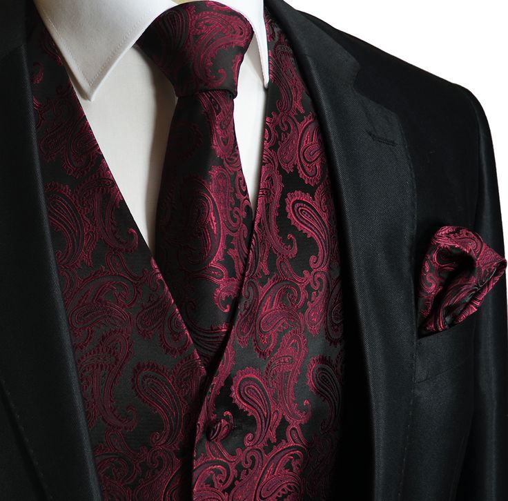 Burgundy a. Black Men's Tuxedo Vest Set (Q20-U)