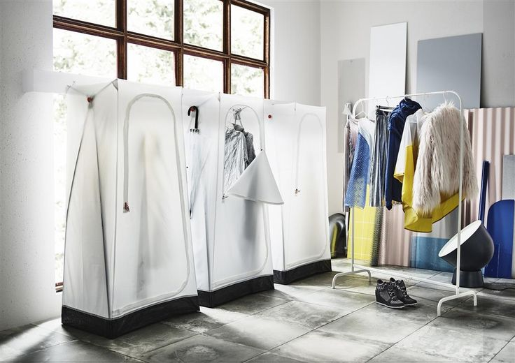 Keep the dust off your clothes with VUKU wardrobe that's inspired by tents - a portable wardrobe with an inside rail, zip and outside hook. #IKEAnews #VUKU #wardrobe