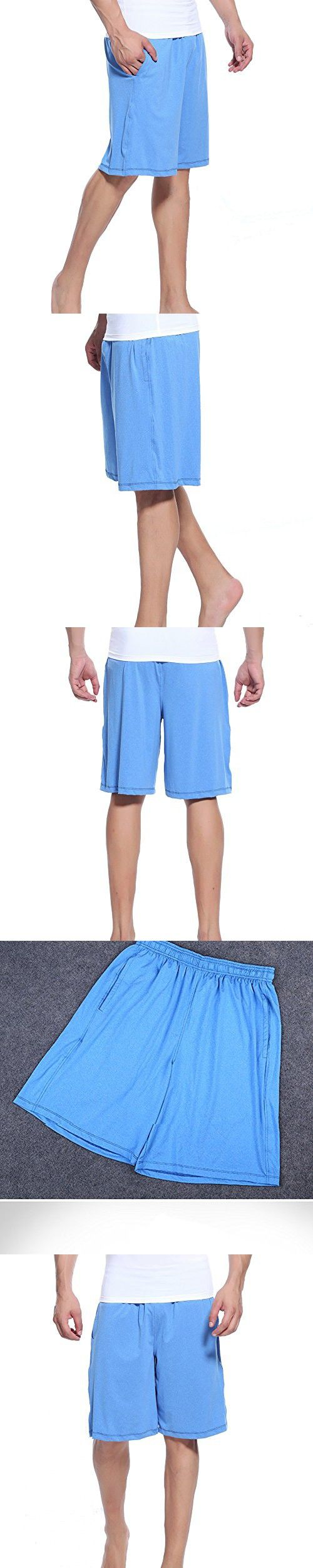 Hopeforth Running Shorts for Men Basketball Athletic Workout Shorts with Pockets Fast Dry(Blue,2XL)