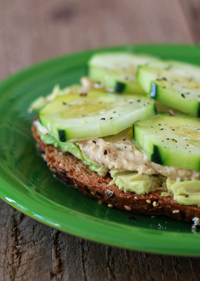 Whoa YUM! - This Cucumber Hummus Avocado Toast is a super healthy snack and easy to make.