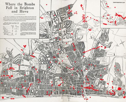 Map of Brighton WWII bomb sites