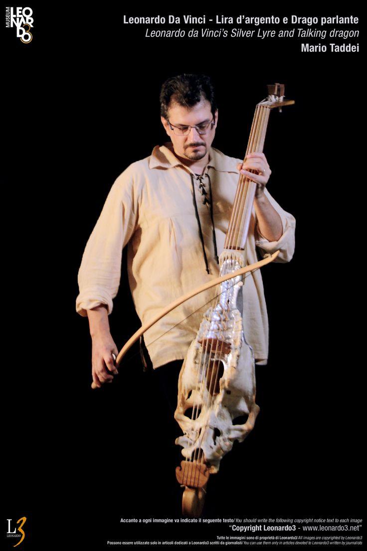 Lira da gamba Leonardo Da Vinci Silver Lyre - Musical instrument  Lira d'argento di Leonardo Da Vinci / Dragolira  Mario Taddei - Leonardo3  www.Leonardo3.net DaVinci Museum Leonardo3