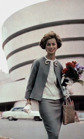February 1961, Manhattan    College girl visiting the Guggenheim Museum --- Image by © Condé Nast Archive/Corbis