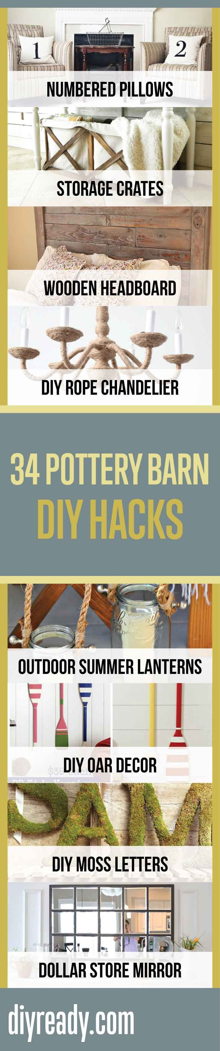 34 Pottery Barn Hacks | Awesome Do It Yourself Furniture Ideas For Home Decor Projects By DIY Ready. http://diyready.com/diy-projects-pottery-barn-hacks/
