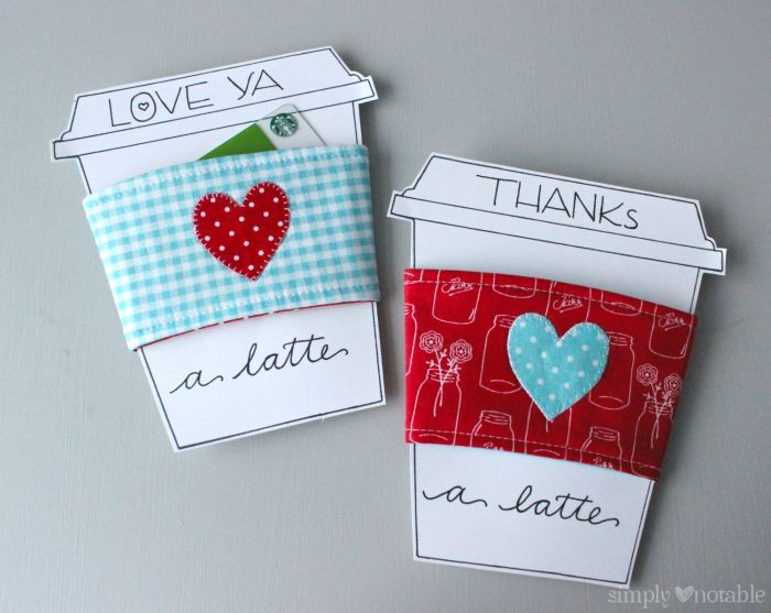 I Heart Coffee Cozy Tutorial with Printable Coffee Cup for Gift Cards   SimplyNotable.com