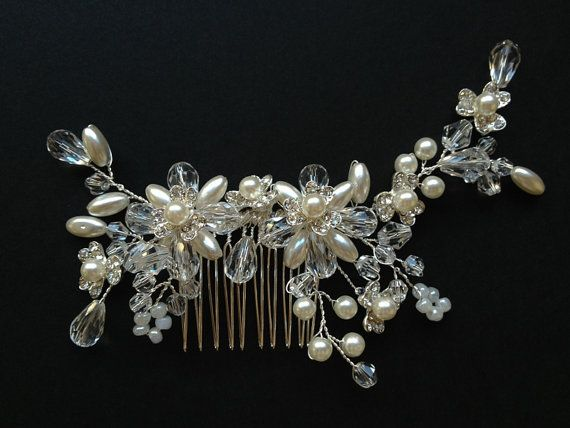 hand made wedding bridal hair comb freshwater pearl by venusshop, $29.90