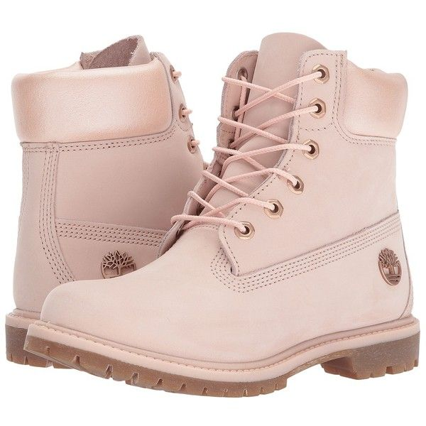 Timberland 6 Premium Boot (Light Pink Nubuck/Metallic Collar) Women's... ($170) ❤ liked on Polyvore featuring shoes, boots, ankle boots, wide ankle boots, lace up ankle boots, laced up ankle boots, metallic ankle boots and wide width ankle boots