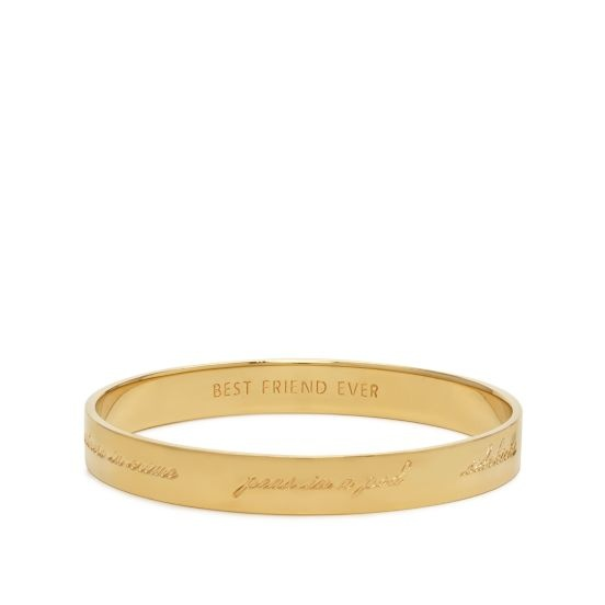 "Kate Spade best friend bracelet, this one says ""partners in crime, peas in a pod, sidekicks, birds of a feather, two of a kind, perfect pairs"" on the outisde and ""best friends forever"" on the inside. Also comes in silver."