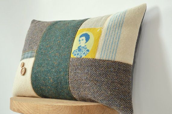 Upcycled Retro Handmade Patchwork Pillow, Recycled Blanket Pillow, Mad Men, Repurposed Blanket, Dripsey Woollen Mills  – Handmade in Ireland...