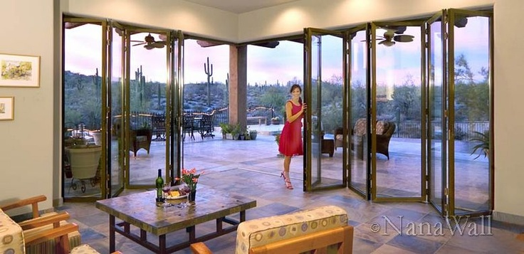 A wall of windows\u003d Accordion door that opens completely | My home | Pinterest | Accordion doors Doors and Glass\u2026 & I love that it opens the house to the outside! A wall of windows ... Pezcame.Com