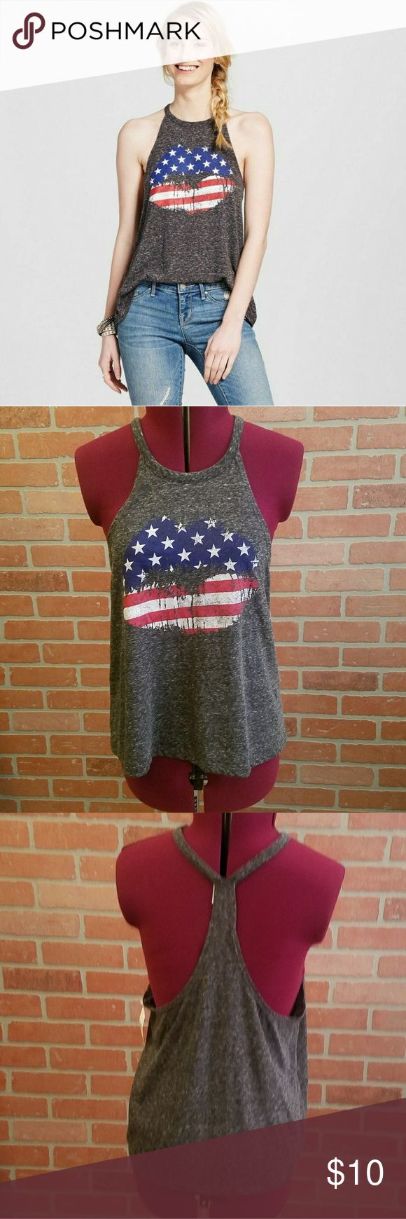 Modern Lux Flag Lips Americana Tank - NWT Perfect for 4th of July. Modern Lux Tops