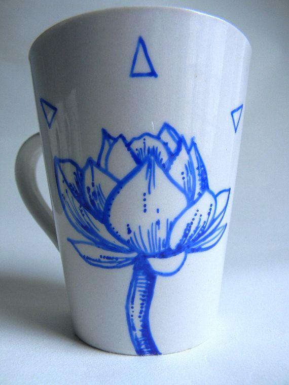 Mug with Original Drawing - Lotus Flower with triangles - Artisvast on Etsy, $20.00