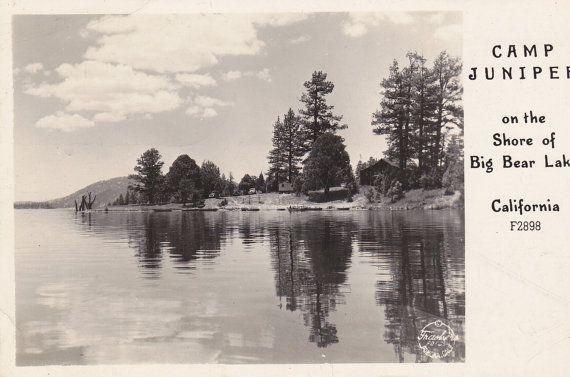 Camp Juniper- On the Shore of Big Bear Lake, California- 1940s Vintage Postcard- Used