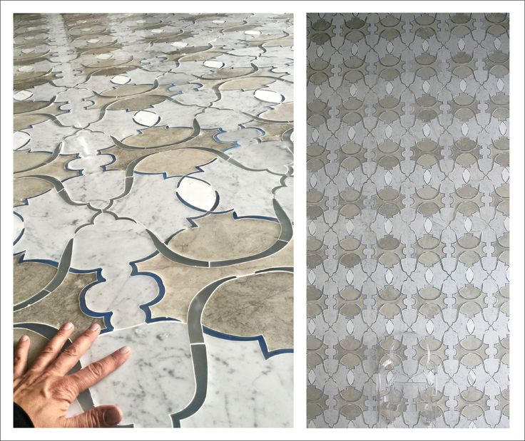 "Saint Germain Design on backlit version. Size cm 244x488  ( 8' x 16"") Carrara, Calacatta, tha;la grey marble/ Opaline and white silk Murano Glass."