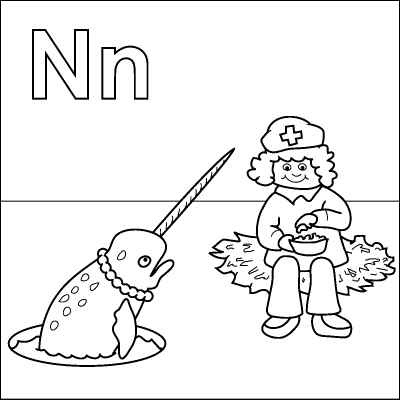 letter n coloring page nurse nuts nest narwhal necklace