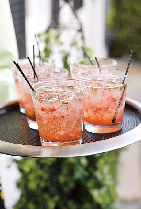"Spring cocktail idea: ""Katie Birds"" made with gin, strawberries, and basil."