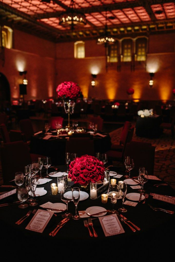 classic tablescape - black with red rose centerpieces - Vintage Hollywood wedding. staceylynndesign.com