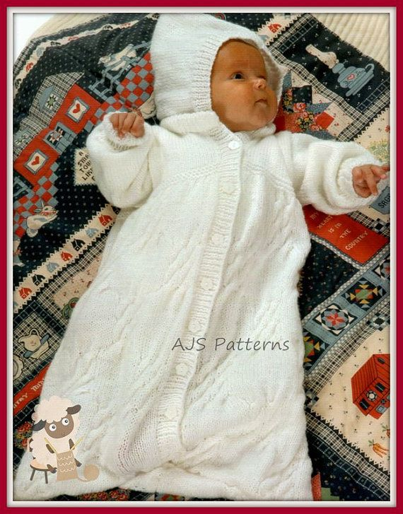 PDF Knitting Pattern for a Babies Sleeping Bag or Cocoon - Instant ...