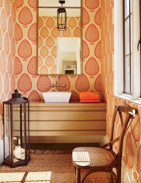powder room - Suzanne Kasler & William T. Baker's Atlanta, GA home | wallpaper design by Katie Ridder Wallpaper from Holland & Sherry
