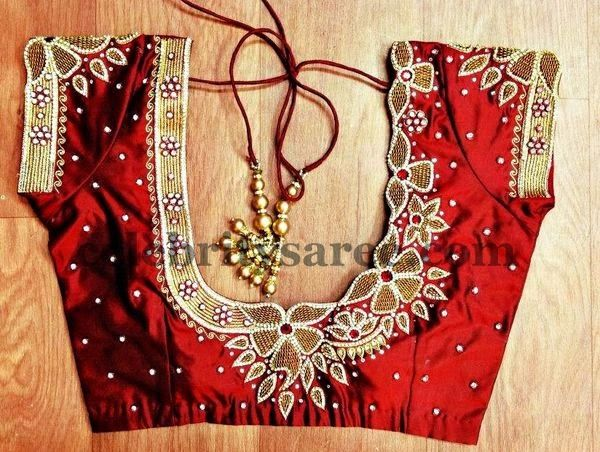 Simple Blouses with Peacock Work | Saree Blouse Patterns