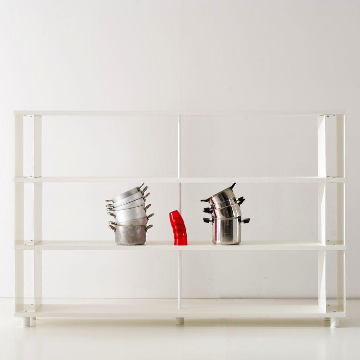 Libreria Componibile SKAFFA Modulare a parete Design mensole scaffali bianchi a giorno da cm. 200 x 130 h x 30: Amazon.it: Casa e cucina