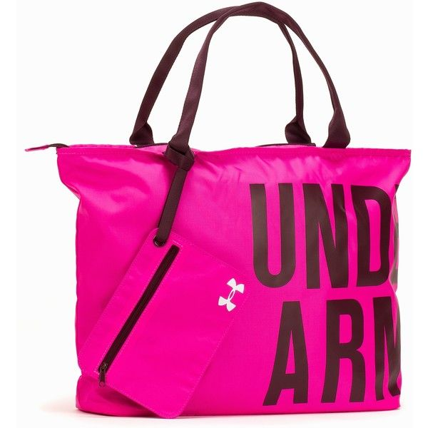 Under Armour Ua Big Word Mark Tote ($55) ❤ liked on Polyvore featuring bags, handbags, tote bags, accessories sport, pink, sports fashion, womens-fashion, under armour, zippered tote bag and sport tote