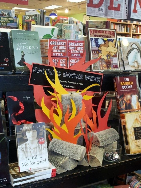 Banned Books, Fire, Folded Books - Those little book logs are brilliant! Generally I'm more of a pro-reading of banned books rather than setting things on fire, but those are awesome!
