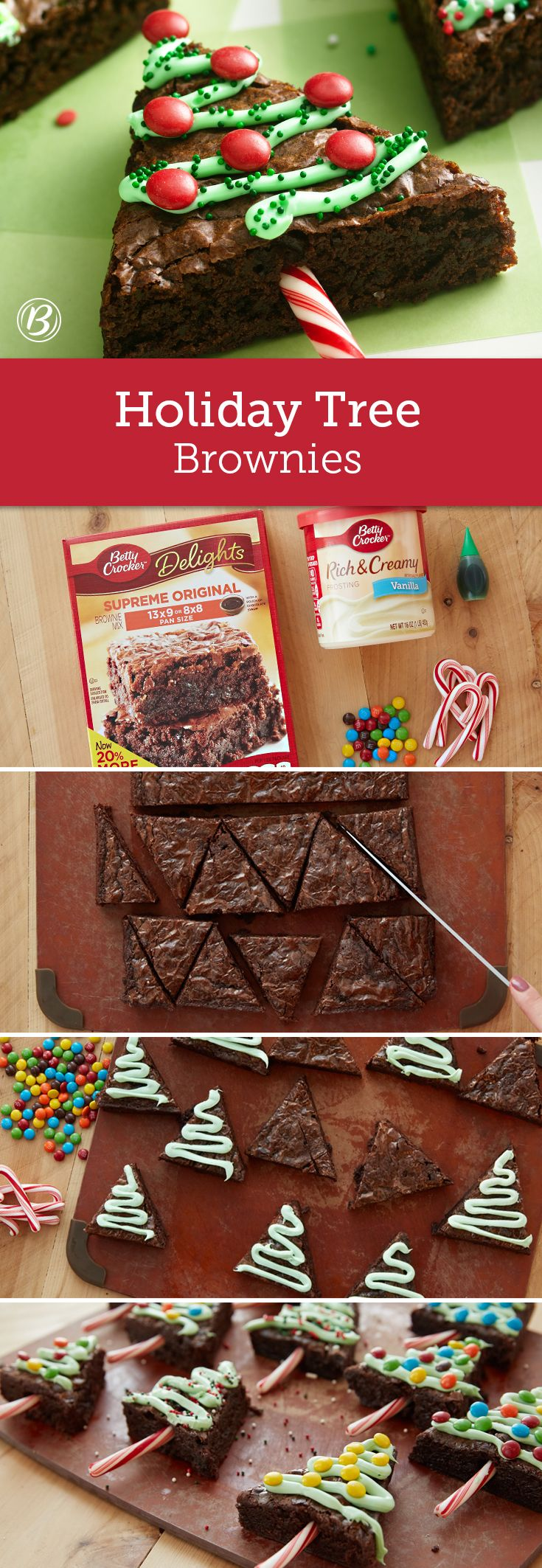 A pan of brownies gets extra holiday cheer when cut into triangles and decorated as Christmas trees. Candy canes make for festive tree stumps, while kids can have fun decorating the brownies with frosting garland and candy ornaments. The brownies are the perfect size for a lunchbox treat or after-school sweet!
