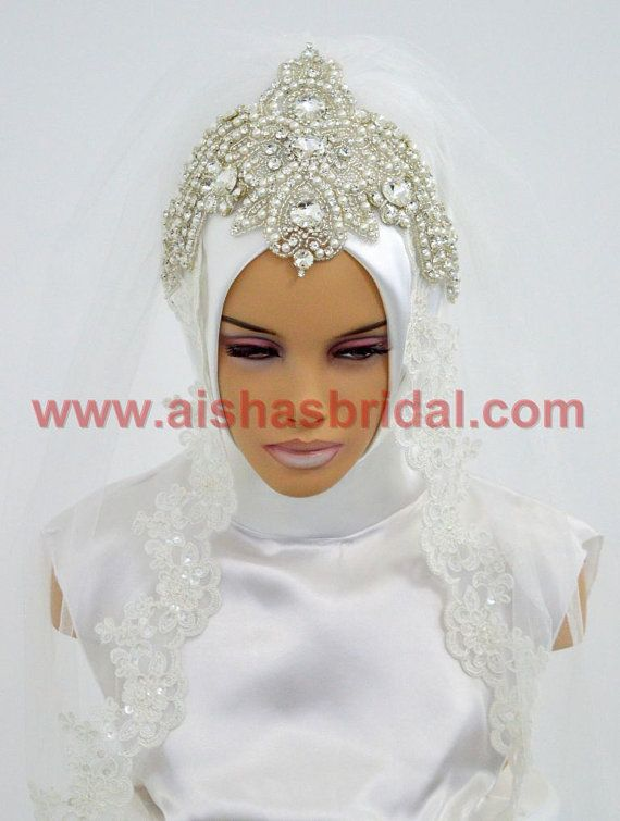 Ready To Wear Bridal Hijab Code: HGT-0475 Muslim by HAZIRTURBAN