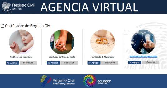 Agencia Virtual - Registro Civil del Ecuador Descargar Certificados en Línea