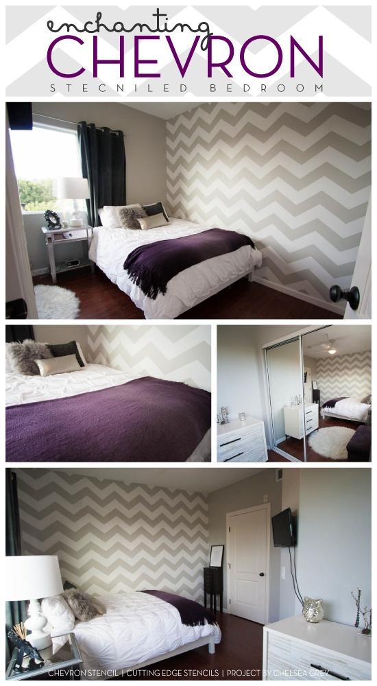 Gorgeous Chevron stenciled bedroom idea uses the Cutting Edge Stencils new chevron stencil design. http://www.cuttingedgestencils.com/chevron-stencil-pattern.html